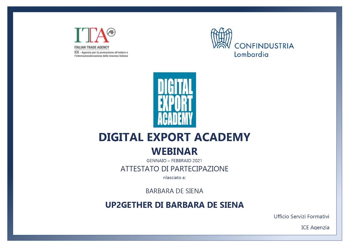Digital Export Academy UP2gether di Barbara de Siena